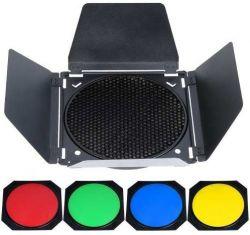 Refletor Barndoor para Flashes de Estúdio Greika SK, QS, QT.