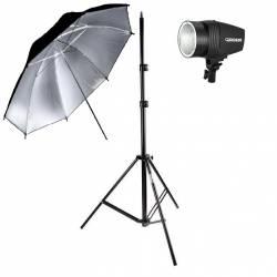 kit Flash k150W (220V) com sombrinha Preta/Prata e Tripé