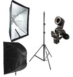 Kit Softbox Sombrinha 60x90, Soquete E27 e Tripé 2M Ideal para Fotografia e Filmagem Interna e Externa