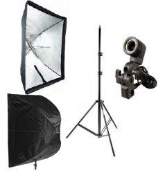 Kit Softbox Sombrinha 60x90, Soquete E27 e Tripé 2M Ideal para Fotografia e Filmagem Interna e Externa