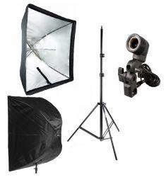 Kit Softbox Sombrinha 90x90, Tripé 2M, Soquete Unico E27 para Iluminação Foto e Vídeo