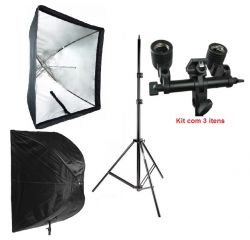 Kit Softbox Sombrinha 90x90cm, Tripé 2M, Soquete Duplo E27