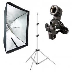 Kit Softbox Sombrinha 60x90, Tripé Robusto, Suporte E27 para Fotografia e Filmagem