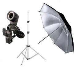 Iluminação Tripé Robusto Sombrinha Preta Prata Estúdio Fotografia e Filmagem