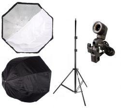 Kit Softbox Sombrinha Octogonal 120 Cm, Tripé 2M, Suporte Único E27 para Estúdio Iluminação Fotografia e Filmagem Profissional
