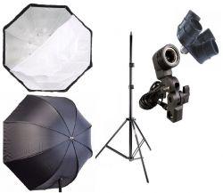 Kit  Octogonal 120Cm Softbox Sombrinha, Tripé 2M, Suporte Único E27 e Quadruplicador Ideal para potencializar a Iluminação de Estúdio Foto e Vídeo