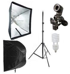 Kit 135W Softbox Sombrinha 90x90, Tripé 2M, Suporte uico E27 idela para Iluminação Foto e Vídeo