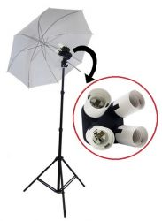 Estúdio Quadruplicador E27 Sombrinha Branca e Tripé 2M para Iluminação Fotográfica e Filmagem