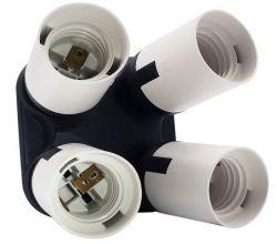 Soquete Quadruplo Iluminador Para Quatro Lâmpadas Suporte E27