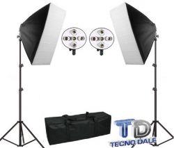 Kit para Iluminação Quíntuplo E27 Softbox 60x90 Cm e Tripés 2M (Sem Lâmpada)