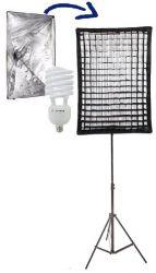 Kit Ágata II 135W Soft Star Light com Grid 50x70 Iluminação Estúdio Luz Fria Contínua