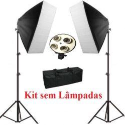 Kit Atena (sem Lâmpadas) Softbox 50x70cm, Tripés 2M para Luz Fria