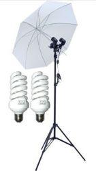 Kit Iluminação Estúdio Duplo com Sapata  Fria  Para Flash  90W Sombrinha Branca