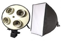 Iluminador com Softbox 50x70 cm para  4 Lâmpadas Luz Fria (Não acompanha lâmpada)