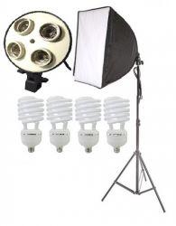 Iluminação 540w  Newborn Softbox 50x70, Tripé 2M e 4 Lâmpadas 135w Luz Fria