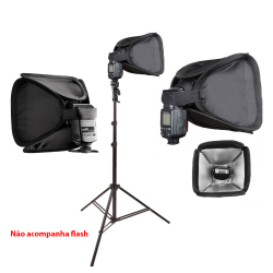 KIt Mini Softbox  23x23cm Para Flash Speedlight com Tripé de 2m