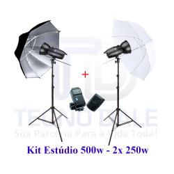 Kit de Estúdio 500w EG 250B Sombrinha Difusora/Prata