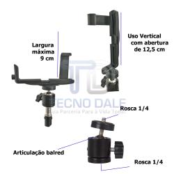 Kit Suporte Para Smartphone com Articulação e Tripé 2m.