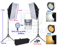 Kit 252 Leds Iluminação com Softbox 50x70 para foto e vídeo