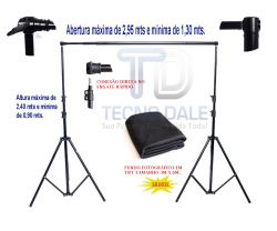 Kit Suporte para fundo Infinito, com barra Telescópica - 2,40mx2,95L