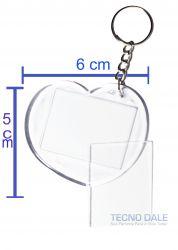 Chaveiro Coração  Pacote com 50  unidades Transparente Acrílico Para Foto 3x4