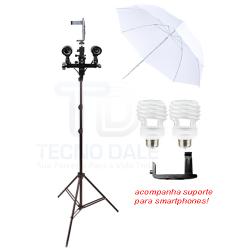 Kit Youtubers C/ Soquete Duplo Sombrinha Difusora e Suporte Smartphone Celular Foto e Vídeo