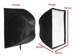 Kit Softbox Sombrinha 60x60, Tripé 2M e Soquete Suporte Simples E27