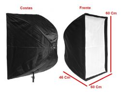 Kit  Softbox Sombrinha 60x60, Tripé 2M, Soquete Bocal Duplo E27