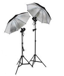 Iluminação Soquetes Duplo, Tripés 2M, Sombrinhas Preta/Prata para Estúdio, Fotos e Vídeos
