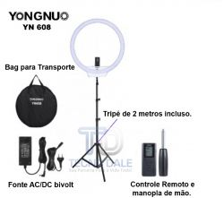 "Ring Light Youngnuo 19"" YN - 608 Com Tripé - 36,5W (220V)"