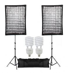 Kit Ágata II 270W Softbox Star Light com Grid 50x70 Luz Iluminação Estúdio Fria Contínua