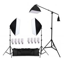 Kit Eros 495W Softbox 50x70cm, Girafa, Tripés e Lâmpadas