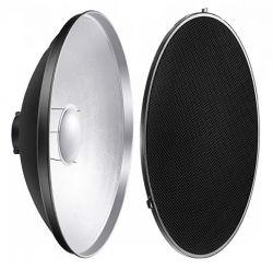 Refletor Prata 42cm Beauty Dish Com Colmeia Encaixe Bowens para flash, tocha e iluminadores