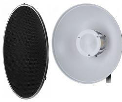 Refletor Branco 42 cm Beauty Dish Com Colmeia  Encaixe Bowens para flash, tocha e iluminadores
