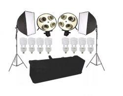 Kit Atena 1080W Softbox 50x70cm, Tripés e 8 Lâmpadas 135w Luz Fria