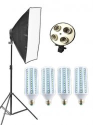 Kit Softbox Lampadas Led 88w Pk-sb01 Bivolt Led 22w Cada Lâmpada para Fotografia e Vídeo