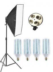 Kit Softbox Lampadas Led 240w Pk-sb01 Bivolt Led 60w Cada Lâmpada para Fotografia e Vídeo