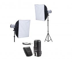 Kit Estúdio 500W Softbox Haze  45x45 Cm Flashes DI 250 Greika Godox