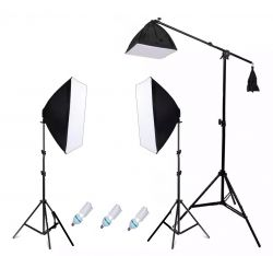 Kit Agata Novo 405W  Softbox 50x70cm, Girafa, Tripés 2mt , Lâmpadas 135w  Foto e Vídeo