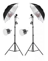 Kit E27 Iluminação Para Estúdio Fotográfico C/ Lampada Led 22w e Sombrinha Prata e Tripé 2mt