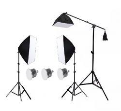 Agata Novo LED 66W - 03 Softbox 50x70, 2 Tripés 2mt, 01 Girafa e 03 Lâmpadas de LED 22W