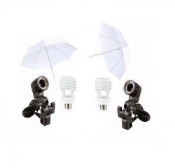 Kit Estúdio Iluminação Sombrinha Branca C/ Lâmpada e Soquete Unico E-27