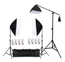 Kit Eros 1215W Softbox 50x70cm, Girafa, Tripés e Lâmpadas
