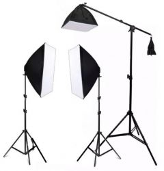 Kit Ágata Novo Softbox Light 50x70cm (Sem Lâmpadas), Girafa, Tripés 2mt , Foto e Vídeo