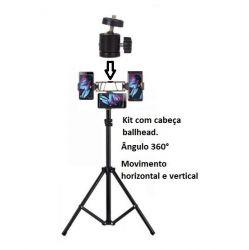 Kit Smartphones cabeça giratória Selfie Ring Light foto e vídeo youtubers