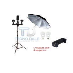 Kit Youtubers C/ Soquete Duplo Sombrinha Rebatedora e Suporte Smartphone.