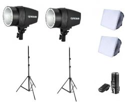 Kit Argos Estúdio Profissional Flash Tocha K 150 Greika Godox 300W C/ Softbox 45x45